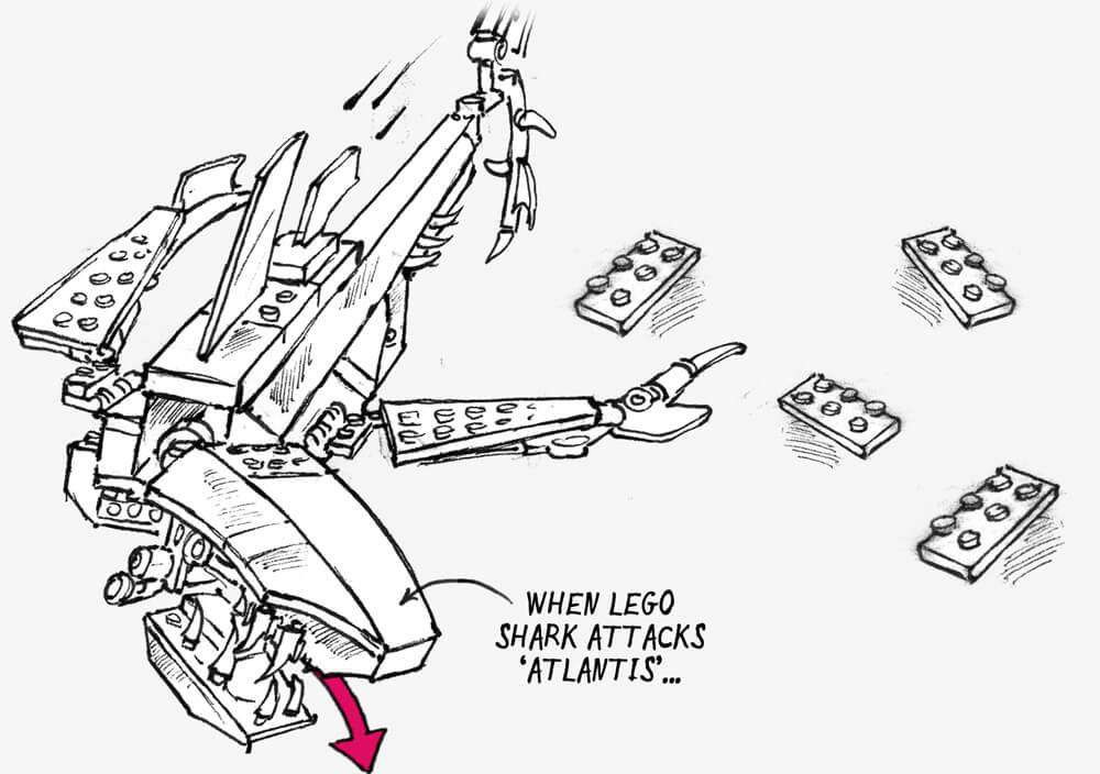 Illustration of a Lego shark