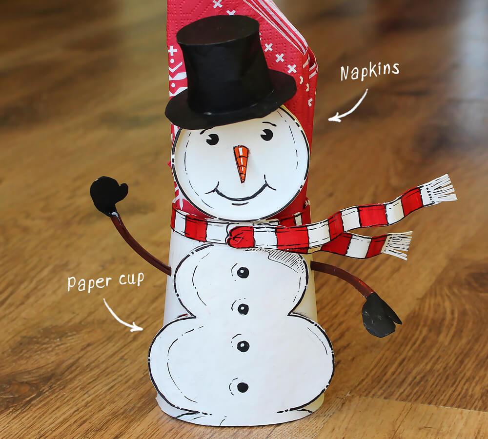 Repurposed paper cup snowman napkin holder