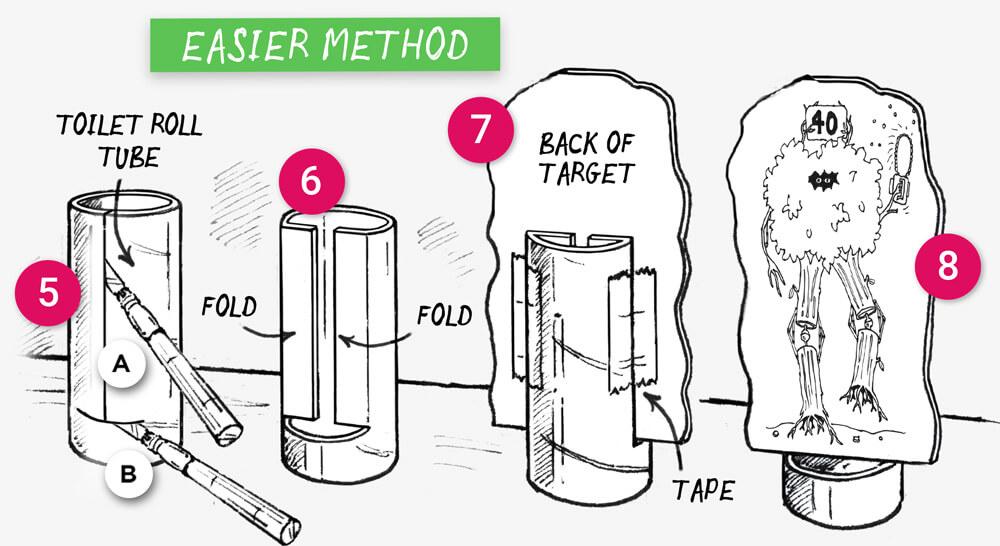 How to make Five Printable Paper Nerf Gun Targets: Step 5-7