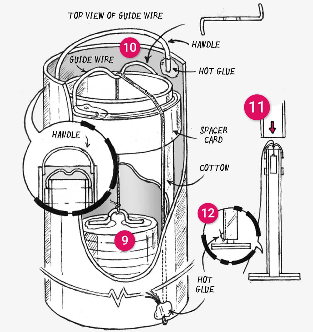 How to make a telescopic paper floor light: illustration 4