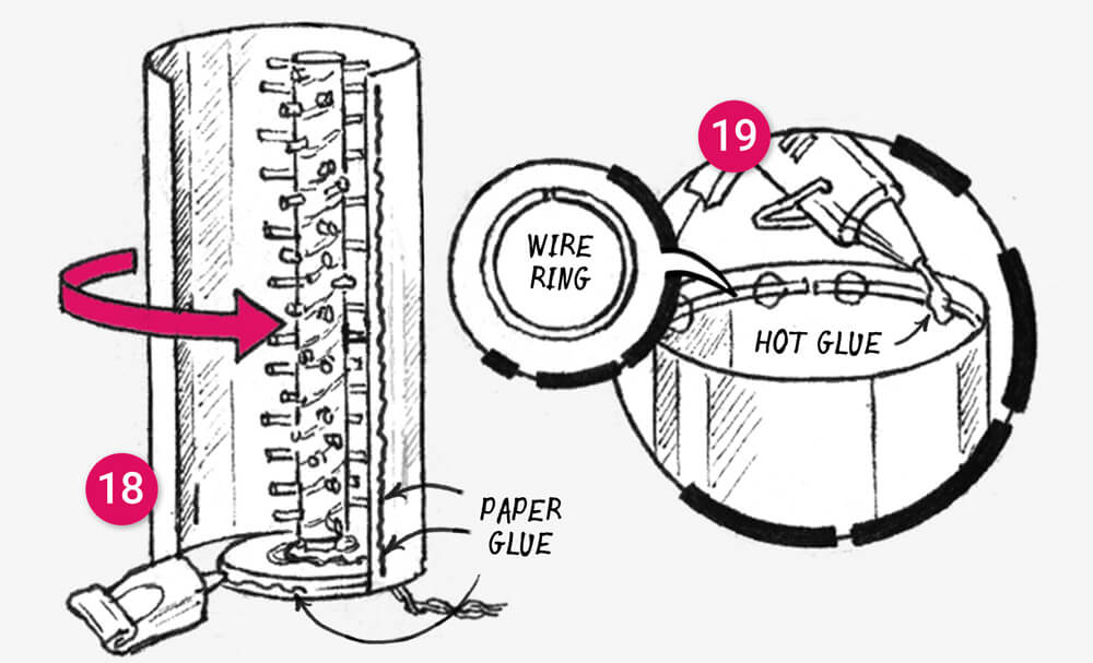 How to make a telescopic paper floor light: illustration 6
